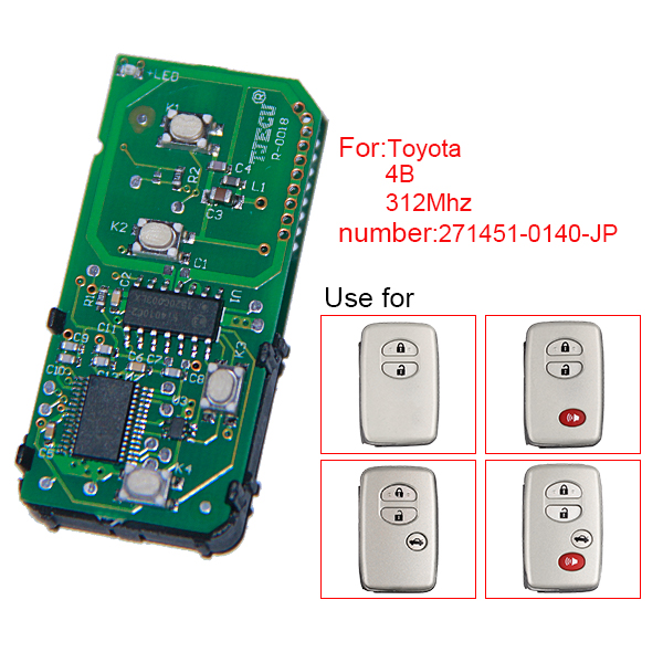 for Toyota Smart Card Board 4 Key 312MHZ Frequency Number 271451-0140-JP