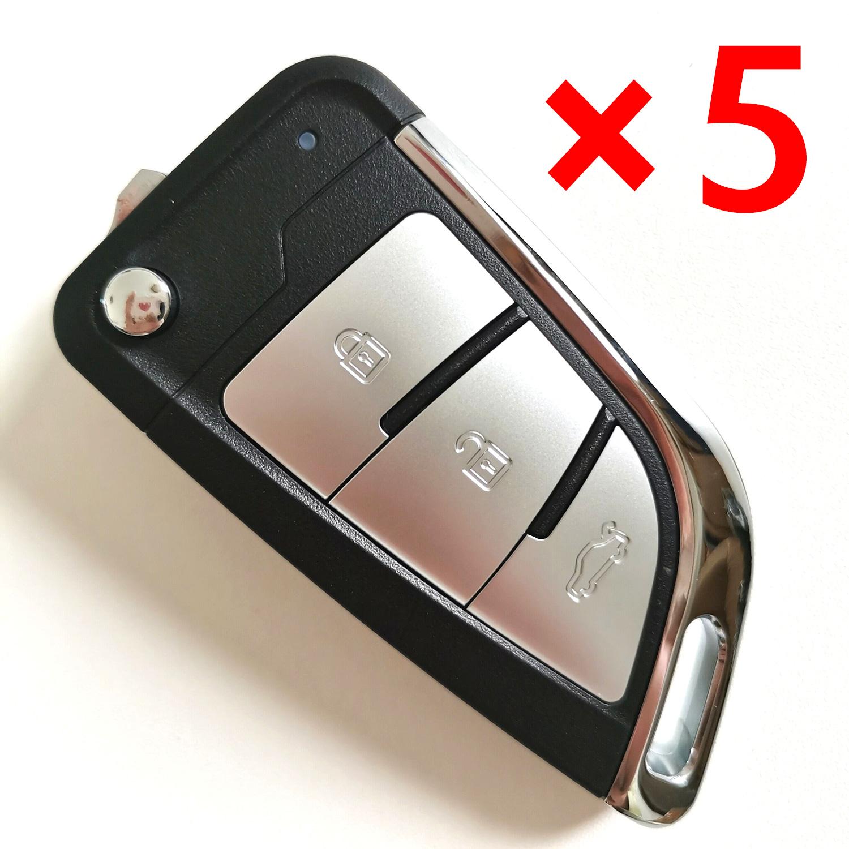 5pcs XKKF23EN Xhorse Flip Key 3 Buttons Silver Color Wire Remote Type