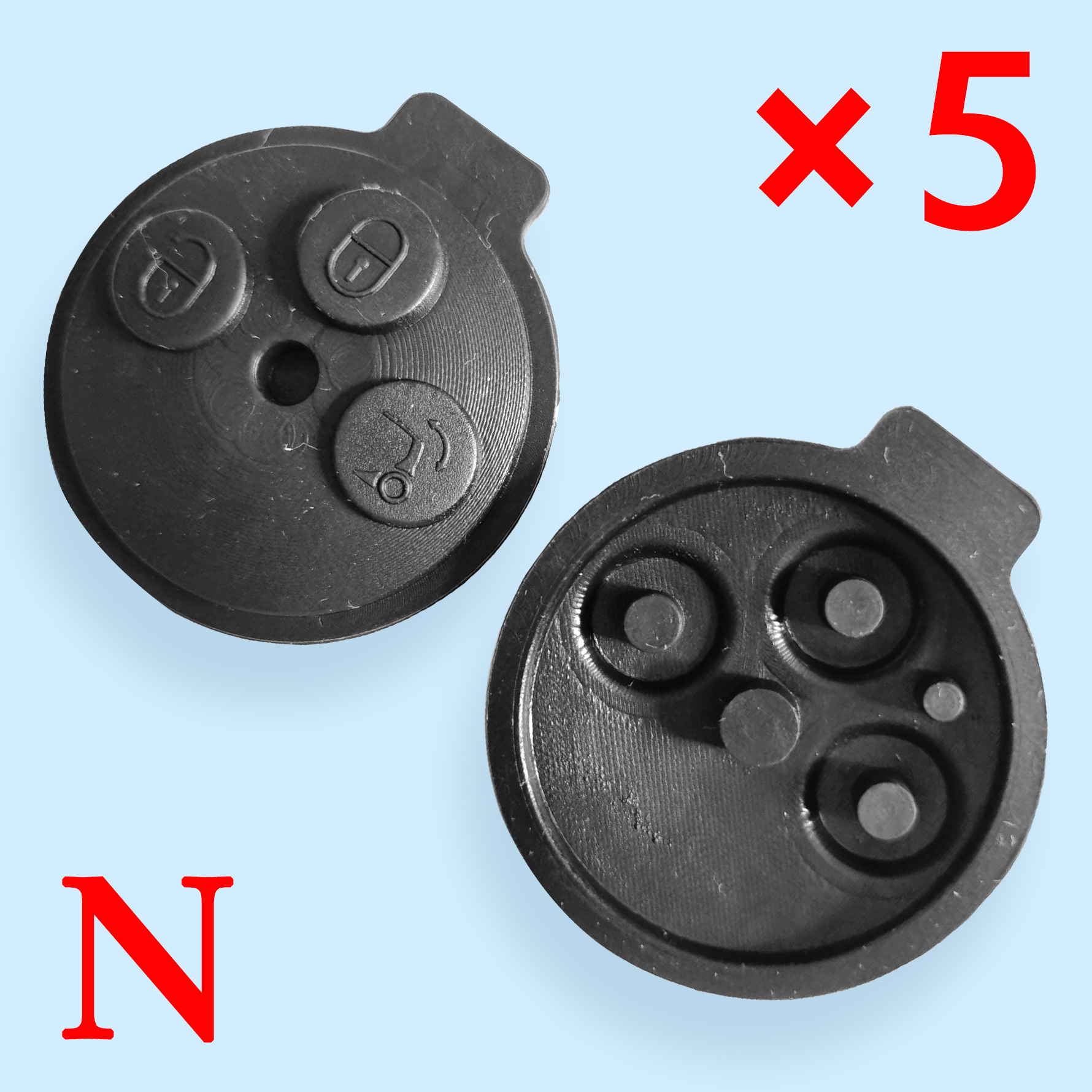 3 Buttons Key Shell Rubber Pad for Smart  - 10 pcs