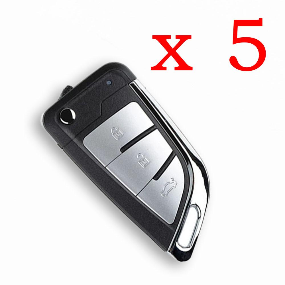 Xhorse VVDI Universal Wire Remote Key KNIFE Stype - XKKF21EN - Pack of 5