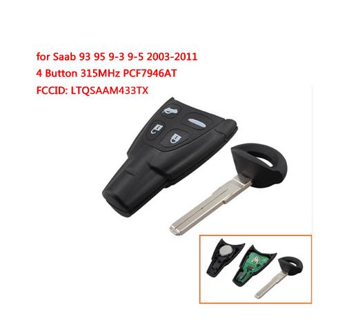 Remote Control Key forSAAB 9-3 93 2003-2010 4 Button315Mhz PCF7946AT FCCID:LTQSAAM433TX