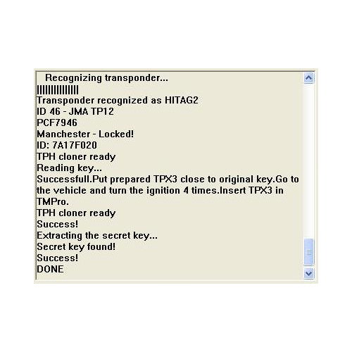 TMPro Software Module 145 for Key Copier for Philips Crypto 2 (HITAG2 ID46 TP12) Keys Onto JMA TPX3/4 Transponders